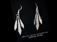 Feather Dangle Earrings in Sterling Silver by Lorenzo Arviso