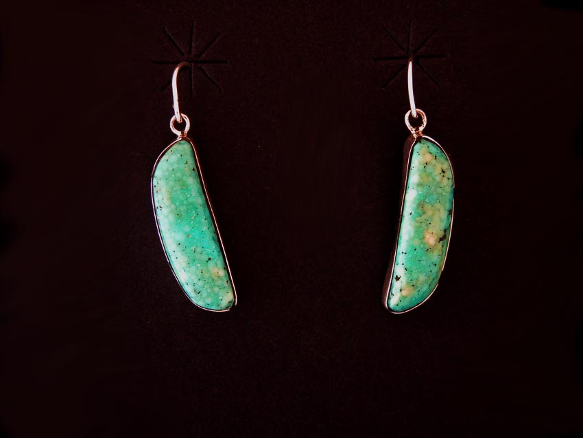 Natural Turquoise Dangle Earrings by Ron Henry
