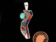 Contemporary Pendant by Ron Henry in Sterling, Gold with Turquoise