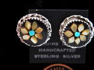 Inlaid Melon Blossum Button Earrings with Turquoise center by Rose Calavaso