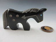 Horse Fetish Carving from Black Marble by Zuni artist Russell Shack available at Sacred Bear Jewelry.