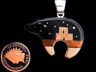 Bear Inlay Pendant in Adobe and Starry Night Design by Olson Charleston