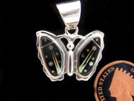 Butterfly Inlay Pendant in Black Jet, Lab Opal and Sterling Silver Stars