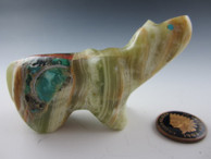 Bear Fetish Carving from Serpentine with Shell Inlay by Zuni artist Jayne Quam available at Sacredbear.com.