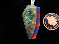 Green Turquoise Pendant with Lapis and Coral Accents by Ron Henry