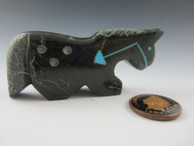 Horse Zuni Fetish Carving from Black Marble by Zuni artist Russell Shack available at Sacred Bear Jewelry.