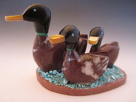 Duck family fetish carving from wildhorse stone by Zuni artist Justin Natewa available from Sacred Bear Jewelry.