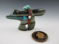 Wolf fetish carving from Travertine by Zuni artist Florenda Lonasee available at Sacred Bear Jewelry.