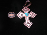 Copper Hand Stamped Cross with Turquoise Stone by Dakota Willie