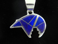 Inlaid Bear Pendant  Lapis