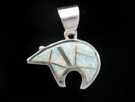 Inlaid Bear Pendant from Lab Opal