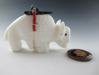 Buffalo fetish carved from White Marble by Zuni artist Russell Shack available from Sacred Bear Jewelry.