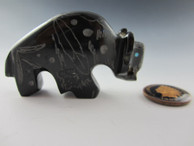 Buffalo fetish carved from Black Marble by Zuni artist Russell Shack available from Sacred Bear Jewelry.