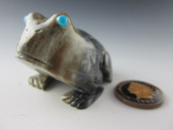 Frog fetish carved from Picasso Marble by Zuni artist Karen Hustito available from Sacred Bear Jewelry.