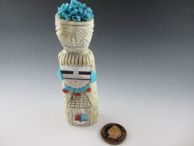 Corn Maiden fetish carved from Antler by Zuni artist Amory Cellicion available from Sacred Bear Jewelry.