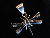 Dragonfly inlaid pendant in sterling by Navajo artist Ray Jack, Jr. available from Sacred Bear Jewelry.