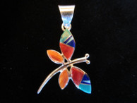 Dragonfly inlaid pendant in sterling by Navajo artist Evangeline David available from Sacred Bear Jewelry.