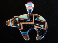 Bear inlaid pendant and bale in sterling by Navajo artist Ray Jack, Jr. available from Sacred Bear Jewelry.