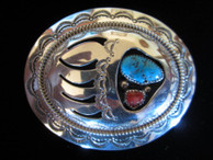 Bear Claw belt buckle in sterling by Navajo artist Wilbur Musket available from Sacred Bear Jewelry.