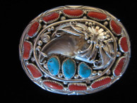 Bear Claw belt buckle in sterling by Navajo artist George Estate available from Sacred Bear Jewelry.
