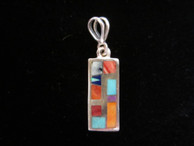 Inlaid sterling silver pendant by Navajo artist Olson Charleston available from Sacred Bear Jewelry.