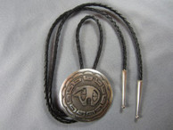 Bear with Cloud Border Bolo Tie by Navajo artist Mabel Kee.