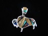 Buffalo Inlaid Pendant and Bale by Navajo artist Billy Long.