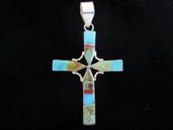 Cross Inlaid by Zuni artist Edison Yazzie.