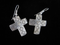 Earring Crosses in Sterling Silver with Stamped Heart Design.