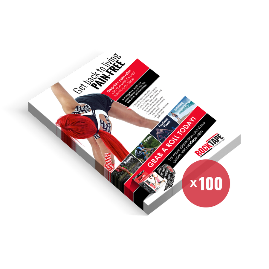 100 patient brochure cards detailing RockTape & RockSauce benefits.