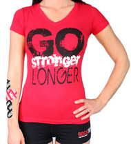 Women's V-Neck Go Stronge, Longer  Tee
