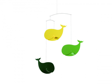 Flensted Happy Whales Mobile in Green and Yellow