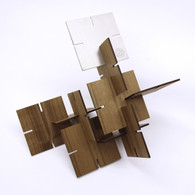 Ekko Workshop Sculpture Squared, Walnut and Stainless Steel