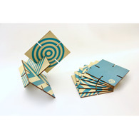 Ekko Workshop Patterened Sculpture Squared, Turquoise
