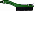"MERIT PRO 10"" 4 X 16 ROW TEMPERED STEEL PLASTIC SHOE HANDLE WIRE BRUSH WITH SCRAPER"