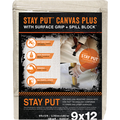 TRIMACO 04321 9' X 12' STAY PUT CANVAS W/ANTI-SLIP BARRIER + SPILL BLOCK DROP CLOTHDROP CLOTH
