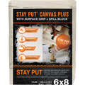 TRIMACO 04329 6' X 8' STAY PUT CANVAS W/ANTI-SLIP BARRIER + SPILL BLOCK DROP CLOTH