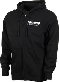 Thrasher Zip Hood Logo - Black