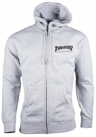 Thrasher Zip Hood Logo - Grey