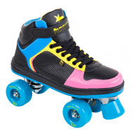 Rookie Roller-skates - Hype Hi Top Trainer - Black/Blue/Pink/Yellow