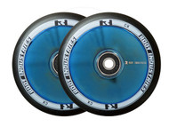 Root Industries 110mm Air Wheels - Pair -  Black on Blue Mirror