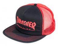 Thrasher Mesh Cap - Logo Embroidered - Red/Black