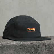 Thrasher Flame Logo 5 Panel Hat - Black