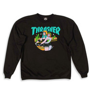 Thrasher Babes Womens Crew Sweatshirt - Black