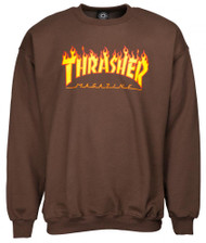 Thrasher Flame Logo Crew Sweatshirt - Brown