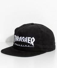 Thrasher Corduroy Snapback Hat - Black