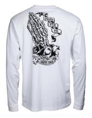 Santa Cruz Longsleeve T Shirt PFM Skeleton - White