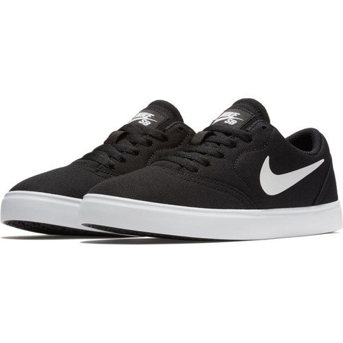 ... Nike SB Check Canvas Kids Skateboarding Shoes - Black / White. Image 1