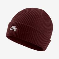 Nike SB Fisherman Beanie Hat - Dark Team Red / White