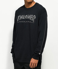 Thrasher Long Sleeve - Web Long Sleeve Black T-Shirt - Black